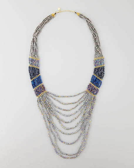 Long Multi-Strand Beaded Necklace, Gunmetal/Blue/Purple