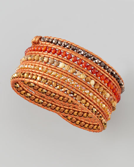 Beaded Wrap Bracelet, Orange