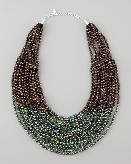 Beaded Multi-Strand Necklace, Purple/Green