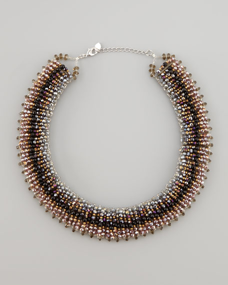 Iridescent Tribal Necklace, Plum