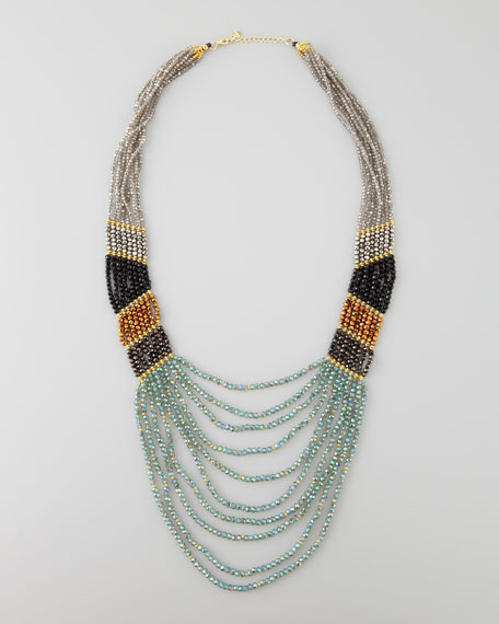 Long Multi-Strand Beaded Necklace, Green/Black/Bronze