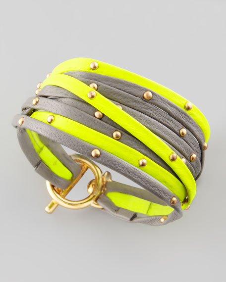 Graham Leather Wrap Bracelet, Yellow/Gray