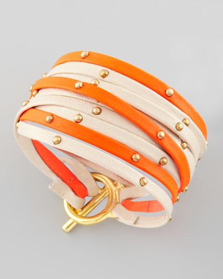 Graham Leather Wrap Bracelet, Bone/Orange