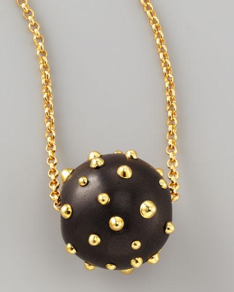 On a Roll Studded Ebony Ball Pendant Necklace