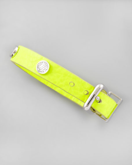 Turnlock-Studded Leather Bracelet, Neon Yellow