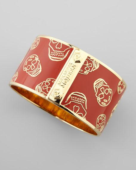 Large Enamel Skull Bracelet, Red