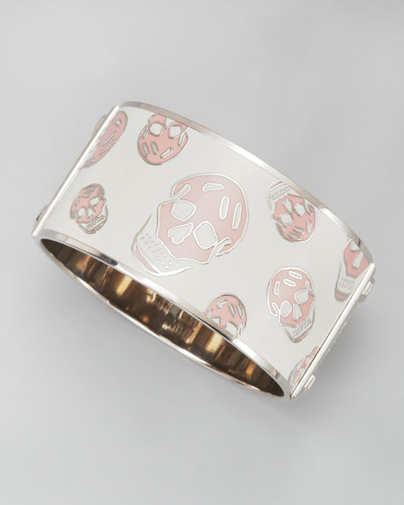 Large Enamel Skull Bangle, White/Pink