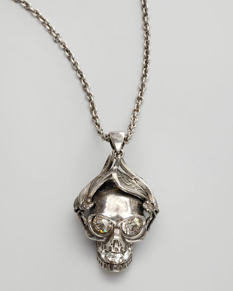 Silvertone Insect Skull Pendant Necklace