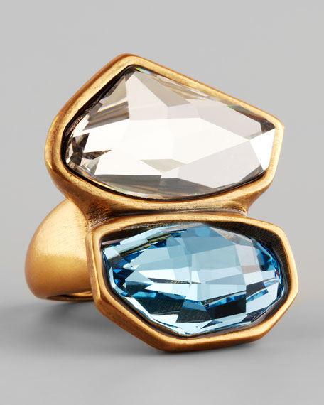 Abstract Faceted Crystal Ring, White/Aquamarine