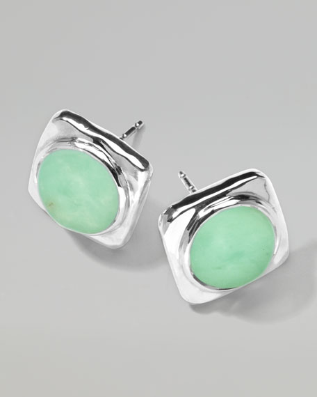 Wonderland Square Chrysoprase Stud Earrings