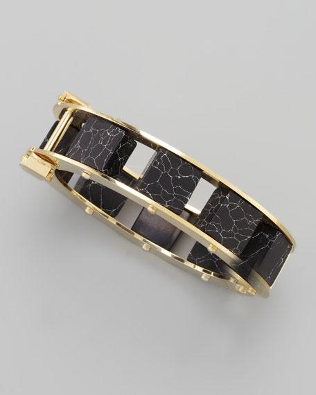 Marble-Cube Slider Bracelet, Black
