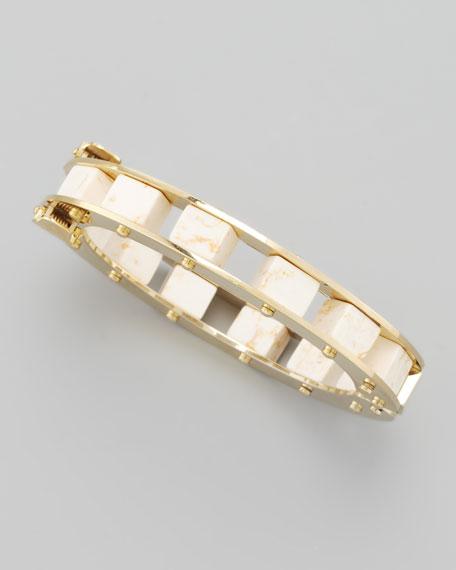 Marble-Cube Slider Bracelet, White