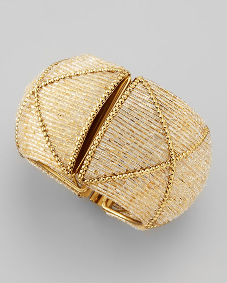 Beaded Hinged Cuff, White