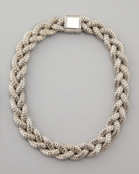 Large Braided Silver Chain Necklace, Personalized