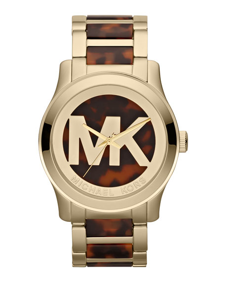 Oversized Tortoise/Golden Stainless Steel Logo Three-Hand Watch