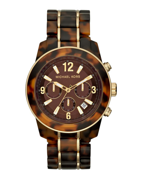 Mid-Size Tortoise Acetate Chronograph Watch