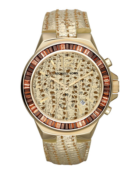 Oversize Lizard-Embossed Gramercy Chronograph Glitz Watch