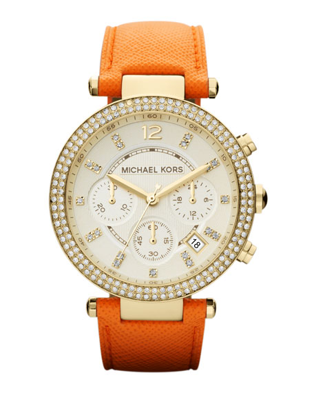 Mid-Size Orange Leather Parker Chronograph Glitz Watch