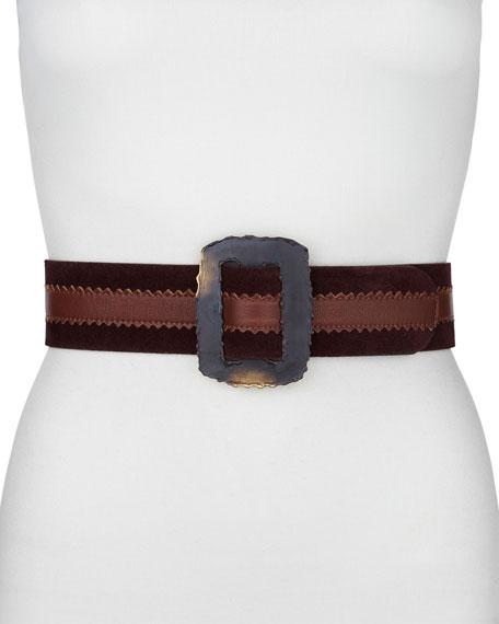 Rectangle-Buckle Artisan Belt, Clay