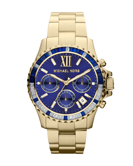 Mid-Size Golden Stainless Steel Everest Chronograph Glitz Watch