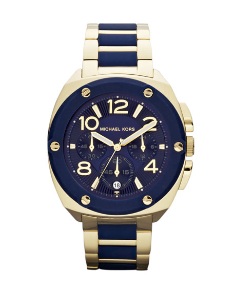 Mid-Size Golden/Navy Stainless Steel Tribeca Chronograph Watch