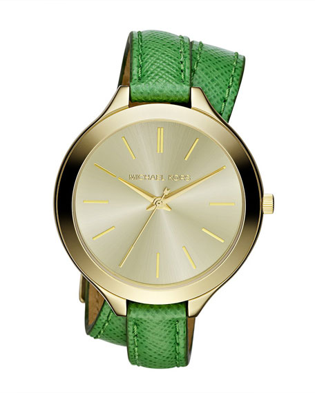 Mid-Size Slim Snake-Embossed Leather Runway Watch, Green/Golden