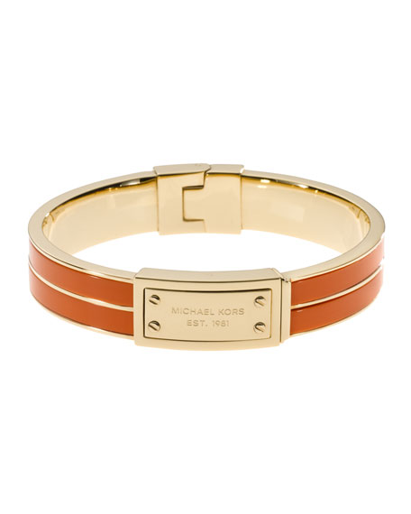 Plaque Hinge Bangle, Golden/Orange