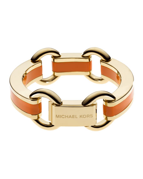 Link Bracelet, Golden/Orange
