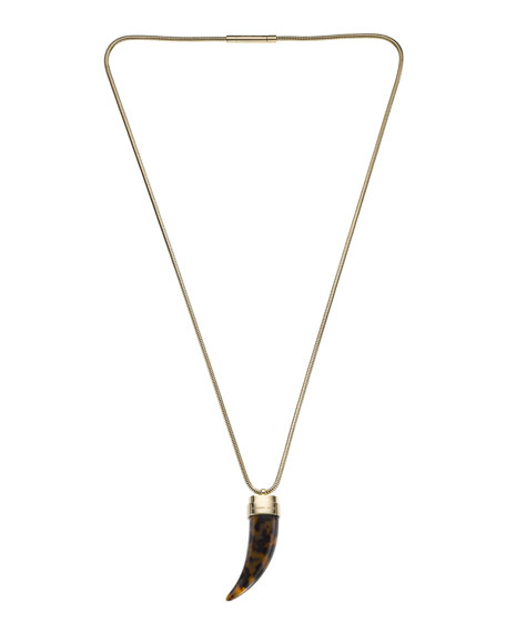Horn Pendant Necklace, Golden