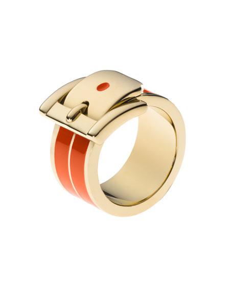 Buckle Ring, Orange/Golden