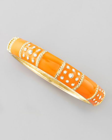 Braid-Striped Pave Crystal Enamel Bangle, Orange