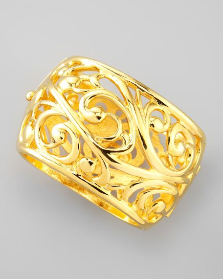 Scroll Wide Cuff, Gold