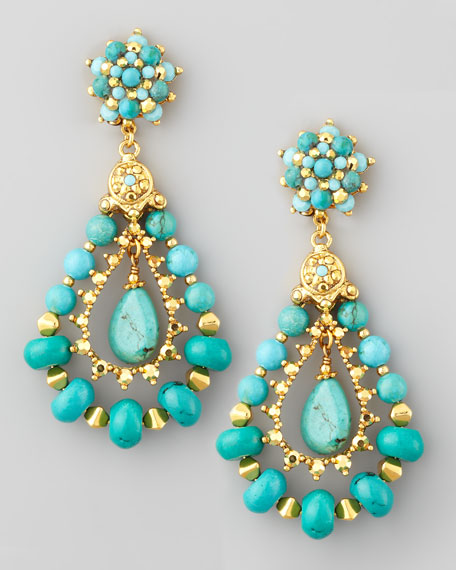 Turquoise Beaded Teardrop Clip Earrings