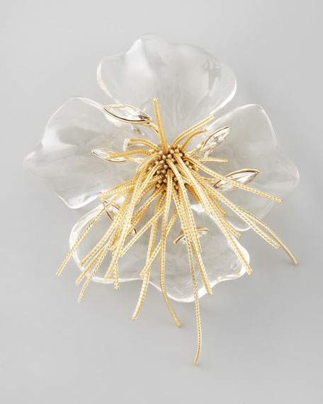 Ophelia Fringed Pansy Brooch, Clear
