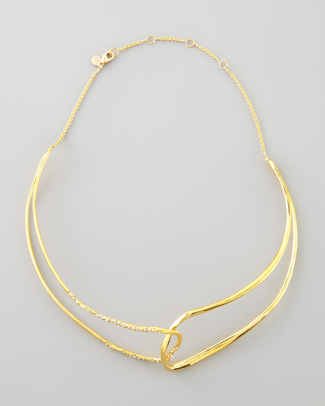 Liquid Golden Open Collar Necklace