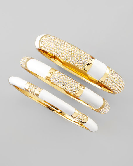 Set of Three Crystal Bangles, White