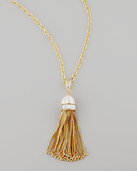 Tassel Pendant Necklace, White