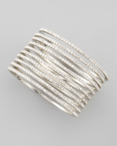 Set of 10 Thin Crystal Bangles