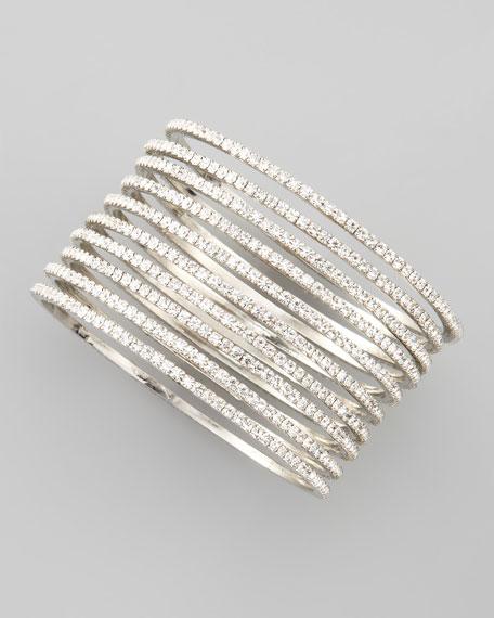 Set of 10 Thin Crystal Bangles