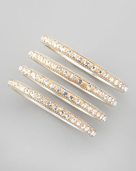 Set of 4 Crystal Bangles, Golden