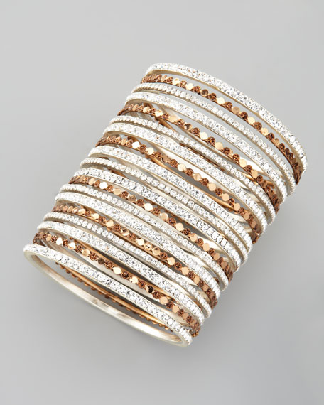 Set of 18 Multi-Crystal Bangles, White and Copper