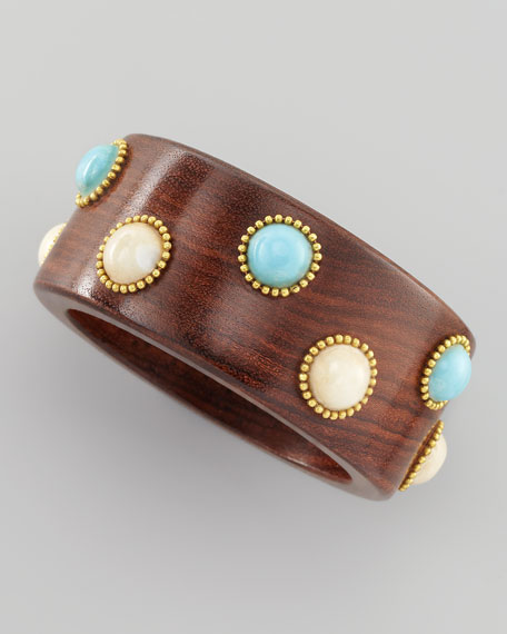 Bead and Wood Bangle, Turquoise/White