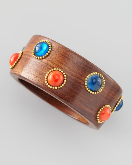 Bead and Wood Bangle, Red/Blue