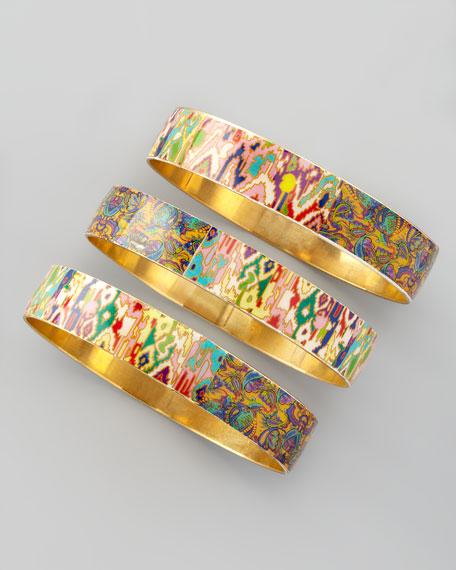 Set of 3 Tie-Dye Print Bangles, Multicolor