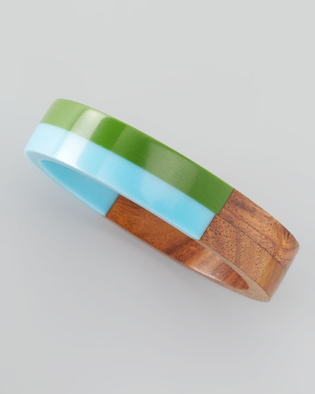 Colorblock Wood and Resin Bangle, Green/Blue