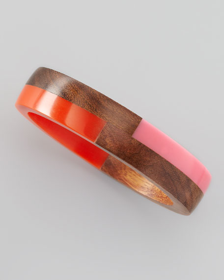 Colorblock Wood and Resin Bangle, Pink/Red
