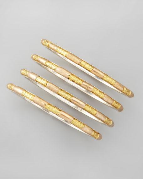 Set of 4 Tribal Bead Bangles, Golden