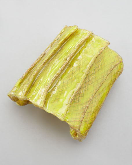 Laminated Mesh Pleated Cuff, Lime