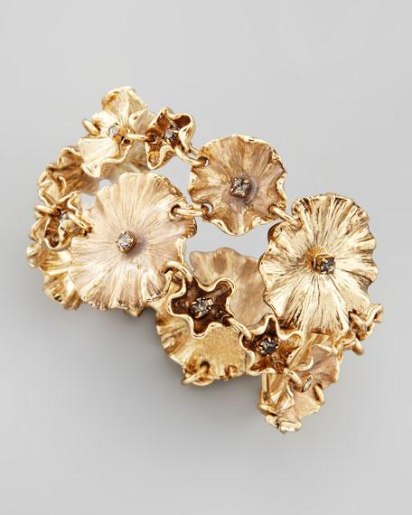 Enameled Lily Pad Bracelet, Mauve