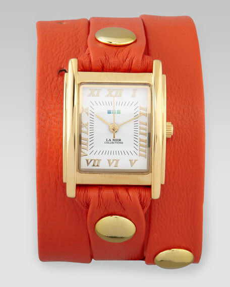 Wrap Rectangle Watch, Orange